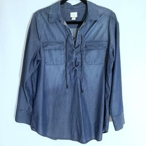Chico's Chambray Long Sleeve Lace Up Front Top Size Large